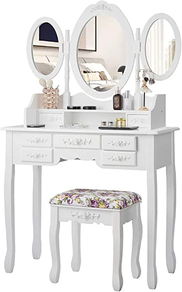 CHARMAID Vanity Set With Tri Folding Mirror And Cushioned Stool Dressing Table With 7 Drawers And A Shelf Makeup Table Writing Desk With Removable Top Makeup Vanity Set For Women Girls White