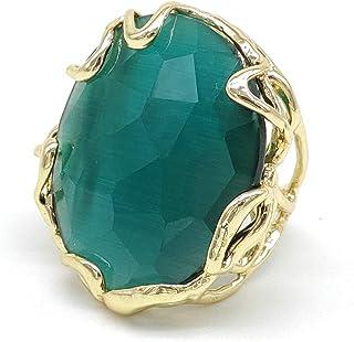 Anello regolabile con cabochon di Occhio di gatto verde smeraldo in bronzo, fatto a mano, pietre dure naturali