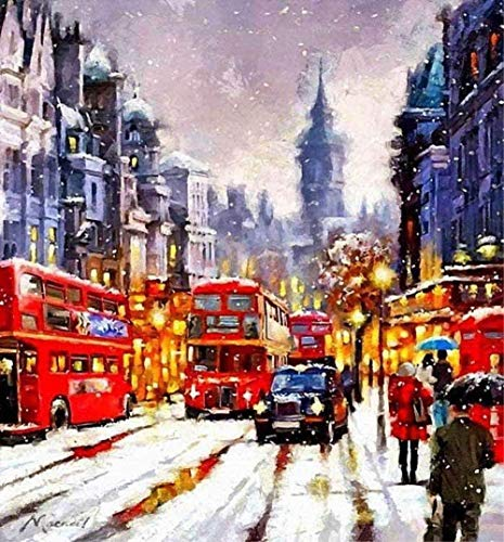 Digitaal schilderij om te knutselen London bus rood sneeuwpodium nummerschilderen digitaal schilderij knutselen olieverfschilderij schilderij digitaal schilderij 40 x 50 cm (zonder lijst) decoratie thuis
