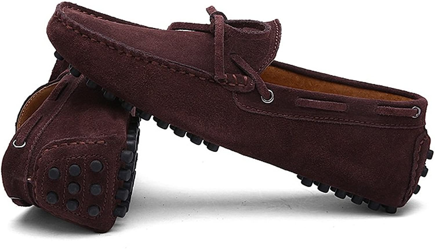 Men's Driving Loafers Genuine Leather Boat Moccasins Rubber Studs Sole Cricket shoes (color   Coffee, Size   49 EU)