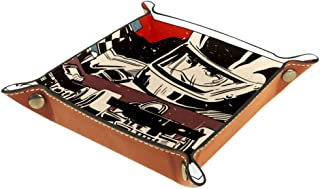 Car Racing Office Microfiber Leather Desk Tray Practical Storage Box for Wallets Keys and Office Equipment,Eyewear Storage...