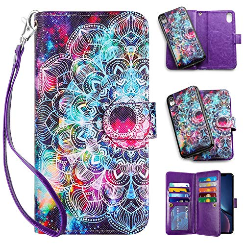 Vofolen Case for iPhone XR Case Wallet Leather PU Flip Cover Folio Detachable Magnetic Slim Shell Dual Layer Heavy Duty Protective Bumper Armor Wristband Card Holder for iPhone XR 10R Flower Mandala