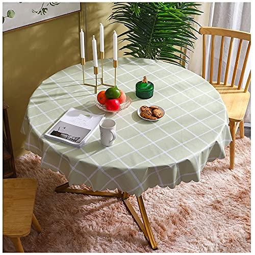 Manteles redondos para limpiar frutas, estampado de cuadrícula verde, moderno, resistente a las manchas, mantel de PVC, mantel de hule, cubierta de mesa, decoración de mesa navideña para com