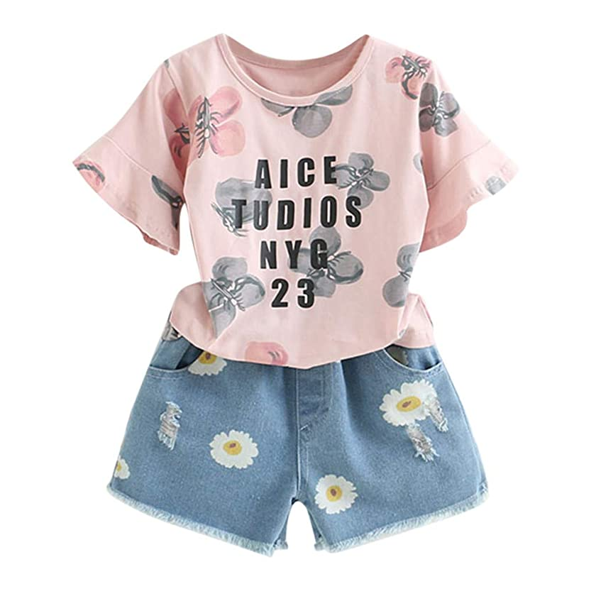 BCDshop 2-7 Year Old Toddler Kids Girl Summer Outfits Floral Print Top T-Shirt+Denim Shorts