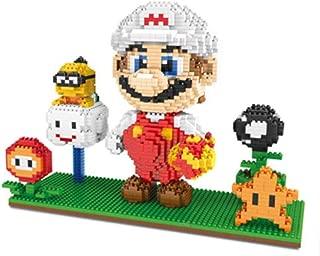 MAGIC-F Super Mario Game Luigi Yoshi Bowser Fire Cat Mario 3D Model DIY Mini Building Diamond Nano Blocks Toy Flower Coin