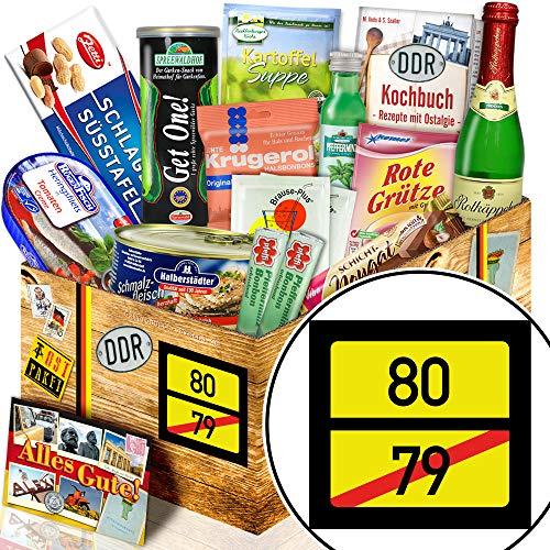 Ortsschild 80 ++ Präsentkorb Spezialitäten DDR ++ Geschenkidee Opa 80