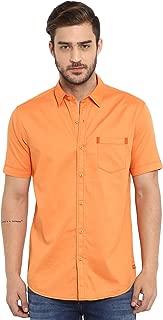 Mufti Men's Solid Slim fit Casual Shirt (MFS-9873-H-56-ORANGE- Orange_3XL)