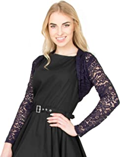 BlackButterfly Floral Lace Long Sleeve Open Bolero Evening Jacket Blouse