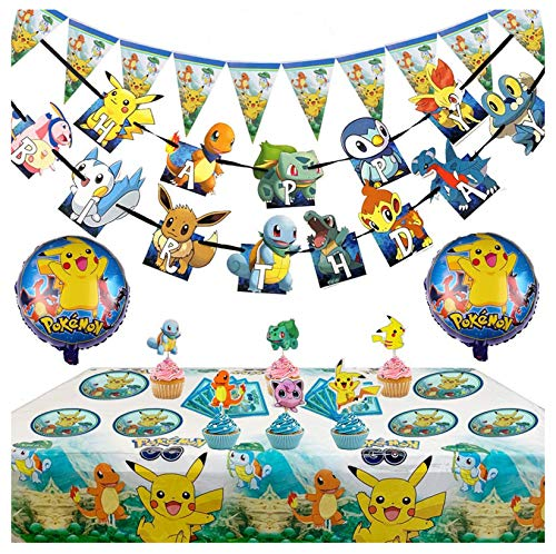 Pokemon Birthday Party Supplies for Kids Includes Pikachu Balloons Birthday Cake Decorations Plates Table Cloth Great Way to Pokemons Party Celebrate Set of 98pcs…