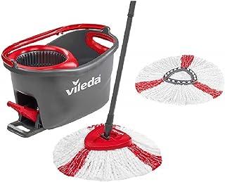 Vileda Turbo EasyWring & Clean Kit Complet serpillère et Seau, Métal, Rouge/Gris, 48,6 x 29,6 cm