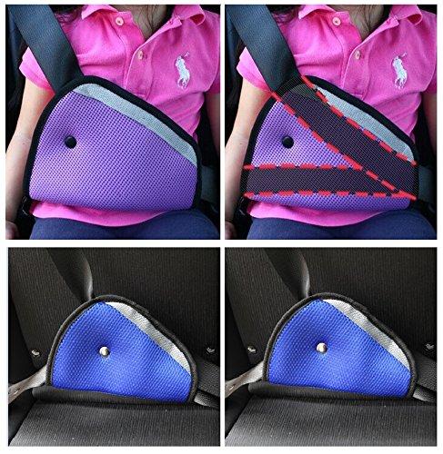 Fontee Baby 2 Pièces Fit épaississement Ceinture de sécurité Voiture Safe Réglez l'appareil bébé Child Safety Belt Protector Ceinture positionneur,Bleu
