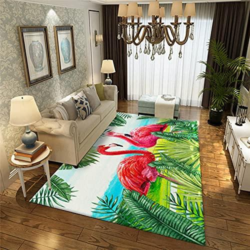 Alfombra SalóN Pelo Corto Moderna Antideslizante Suave Lavables para Comedor Pasillo Y HabitacióN Dormitorio Comedor Moderna DecoracióN Interior,TamañO:160x230cm-Flamenco
