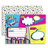 Super Hero Comic Book Birthday Party Invitations for Girls, 20 5'x7' Fill In Cards with Twenty White Envelopes by AmandaCreation