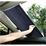 MefeCoorel サンシェード 車 遮光 遮熱 自動伸縮 自動折畳 プライバシーを保護する 車 サンシェード (グレー, 単層構造)