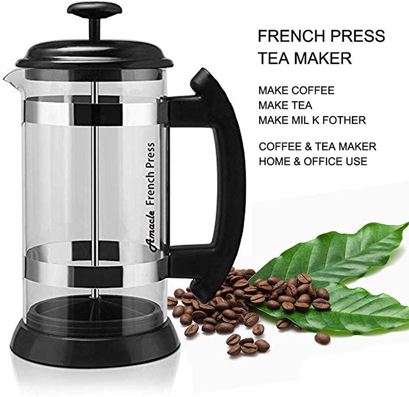 Amacle French Press Coffee Maker 34 Oz Tea Pods Silicone Sealed Mesh Stainless Steel Filter Perfect For Family Single Coffeeholic
