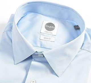 Bagutta (バグッタ) ドレスシャツ レギュラーカラー SLIM FIT 長袖 メンズ スリム ストレッチ コットン 綿 無地 ブルー 青 水色/イタリア ブランド ビジネス ワイシャツ【並行輸入品】