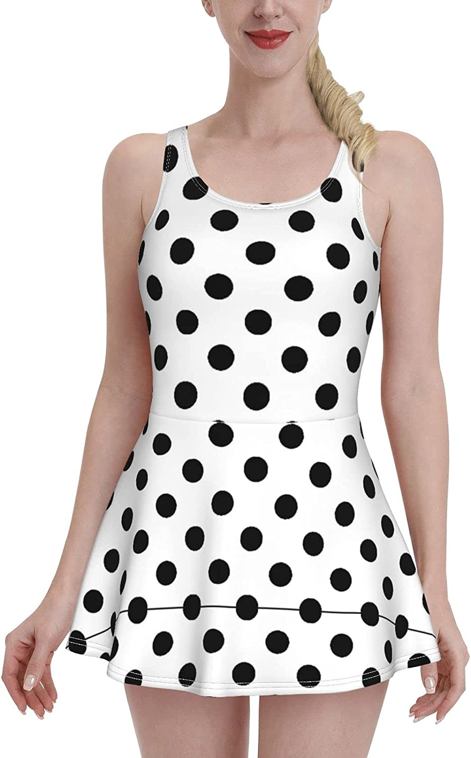 Black Dots On White Background Swimdress Swimsuits for Women Tummy Control 1 One Pi