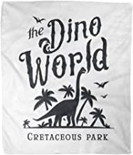 Golee Throw Blanket Dino World Dinosaur Park Logotype Diplodoc Jurassic Period Retro Lost 60x80 Inches Warm Fuzzy Soft Blanket for Bed Sofa