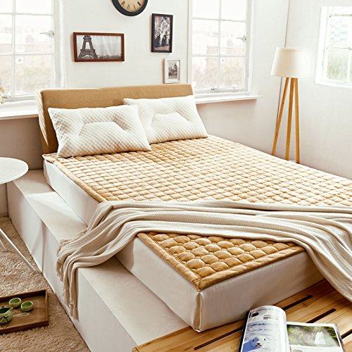 KELE Effen kleur fluwelen matras, beschermende pad dikke anti-slip bed pad effen wassen dun bed pincet