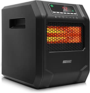 LIFE SMART 6 Quartz Elements Infrared Space Heater with LED Digital Display Screen, Fast Heating with Remote Control and T...