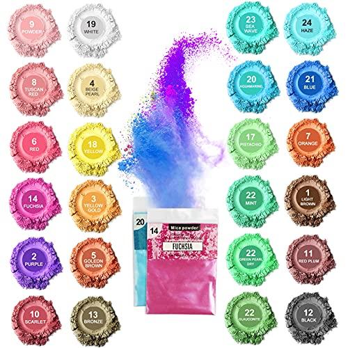 Poudre de Mica, Poudre de Pigment de Résine 24 Couleurs, Poudre de Pigment de Mica Organique pour Savon à Faire Soi-même Bombes de Bain Résine époxy Brillant à Lèvres Ongles Fabrication de Bougies