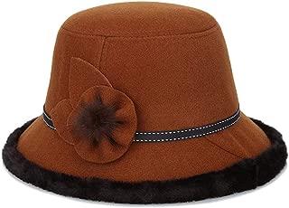 ZiWen Lu Pot Cap Dome Thickening Plush Fashion Warm Fashion hat (Color : Brown, Size : 56-58cm)