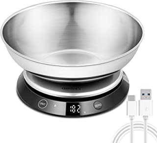 CHWARES Balance de Cuisine avec Bol, rechargeable par USB balance alimentaire, Balance Cuisine Précision Pâtisserie Numéri...