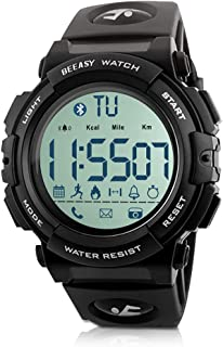 Beeasy Mens Sport Watch Waterproof Digital Wristwatches Military Smart Wrist Watches Bluetooth Fitness Tracker Watch with Pedometer Calorie Stopwatch Call SMS Reminder for Men Support iOS Andriod