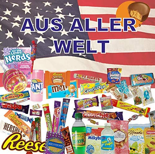 QueenBox® 🍭Süssigkeiten aus aller Welt Großpackungen | 25 x Süßigkeiten Mix | USA Box | Asia, Russia, Arabic Schokolade 🍫 | Party Box | Snackbox | Candy Mix 🍬 asiatische snacks
