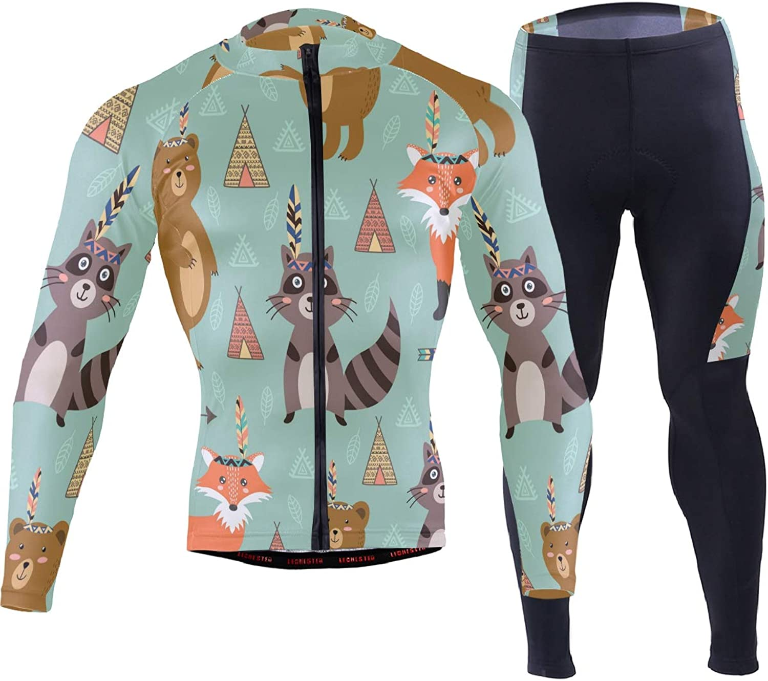 FANTAZIO Animals Bear Fox and Raccoon Cycling Jersey Suit Cycling Clothes for Men Riding Bike Wear 3D Padded Pants