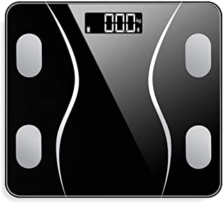Báscula Electrónica con Pantalla Digital De Escala De Grasa Corporal Bluetooth para Pesar con Diseño Delgado De Precisión para Un Fácil Almacenamiento,Negro