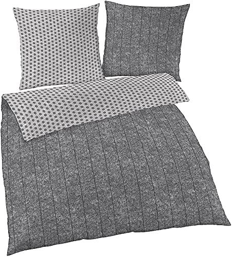 Träumschön Bettwäsche 135x200 4teilig | Wende Bettwäsche 135x200 4teilig Grau und Punkte | Biber Bettwäsche 4tlg aus 100% Baumwolle