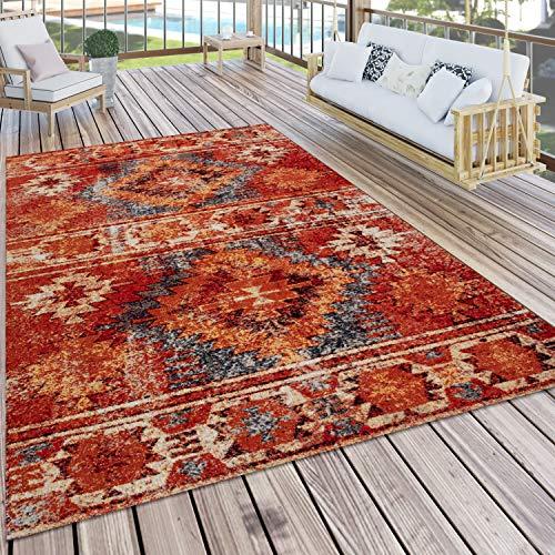 Paco Home In- & Outdoor-Teppich Für Balkon Und Terrasse, Mit Ethno-Design, In Rot, Grösse:160x220 cm