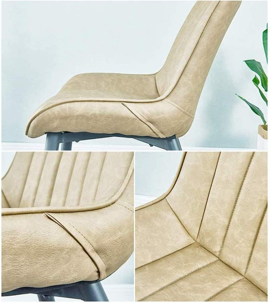 LSRRYD Rétro Chaise de Salle à Manger Chaise de Cuisine Assise rembourrée en Similicuir,Pieds en métal Stable (Color : Blue+black legs) Black+gold Legs