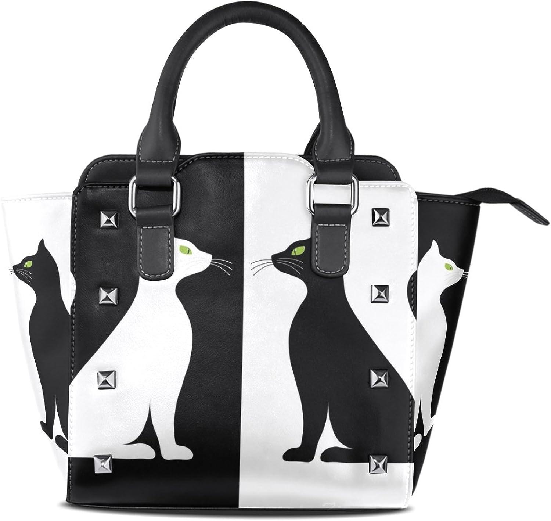 My Little Nest Women's Top Handle Satchel Handbag Black White Cats Silhouette Ladies PU Leather Shoulder Bag Crossbody Bag
