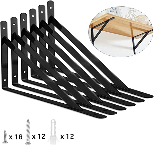Heavy Duty Shelf Bracket ORIGA 9 8 X 6 3 Inch Shelf L Brackets 90 Degree Shelf Support Corner Brace Joint Right Angle Brackets With 20pcs Screw And 8pcs Anchors 6 Pack Black