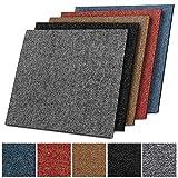 Design Teppichfliesen Kairo 50x50 cm selbstliegend - 1 m² Set - strapazierfähiger Teppich Bodenbelag mit hochwertigem Schlingenflor - antistatisch mit Bitumen Rücken (A6 Schwarz, 4 Stück)