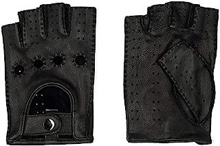 mens black leather fingerless gloves