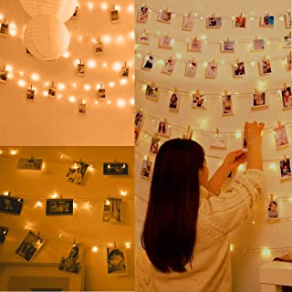 Anpro 110 LED Photo Clip String Lights, 11M Fairy Light Photo Clips, LED Photo Lights Pegs for Bedroom Decoration,Hanging ...