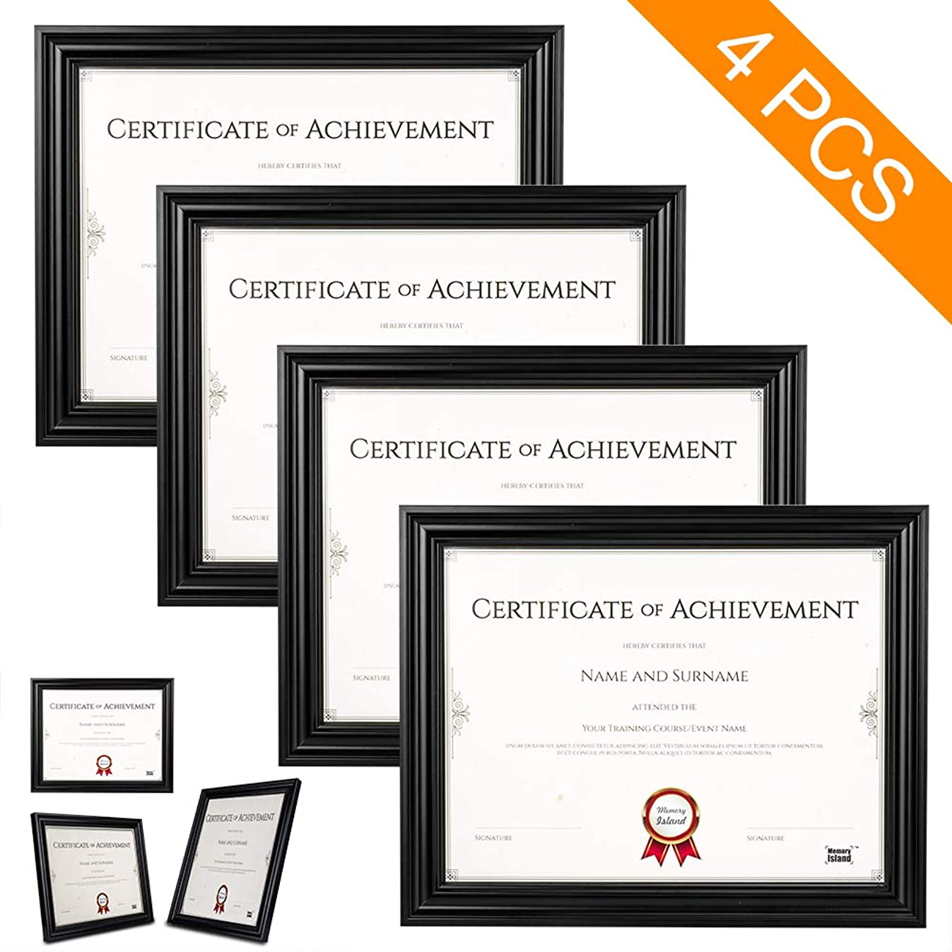 Memory Island Document Frames 8.5x11, Set of 4 Pack, Certificate Frames, Black, Glass Fronts. Vertical or Horizontal Display, Wall Decor Frame