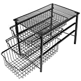 3S Under Cabinet Storage,Sliding Basket Organizer Drawer,Bathroom Kitchen Under Sink Organizer,Black,Three Tier.