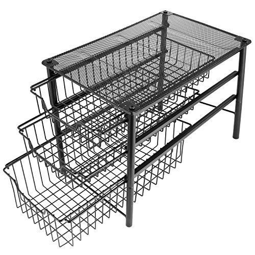 3S Under Cabinet Storage,Sliding Basket Organizer Drawer,Bathroom Kitchen Under Sink Organizer,Black,Three Tier.