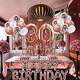 Globos de cumpleaños de 30 años, mantel de oro rosa, decoraciones de globos de cumpleaños, suministros para mujeres, confeti, globos de látex impresos