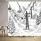 EdCott 3D Fantasy Print Winter Ski Cortina Instalaciones esquí Alpine Holiday Sketch Juego Cortinas Navidad Actualización Accesorios baño Incluye 12 Ganchos 69X70 Pulgadas
