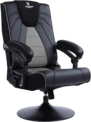 Blue Whale Rocking Massage Gaming Chair with Bluetooth Speakers,Foldable and Adjustable Ergonomic Back Support, Metal Base Swiving PU Leather Leisure Game Chair