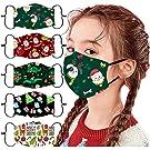 [US Stock]Kids Face Masks Reusable,5PC Kids Children Cute Cartoon Kids Christmas Face Mask Reusable Washable Face Cloth Masks