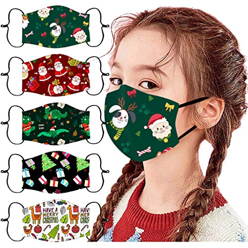 [US Stock]Kids Face Masks Reusable,5PC Kids Children Cute Cartoon Kids Christmas Face Mask Reusable Washable Face Cloth Masks