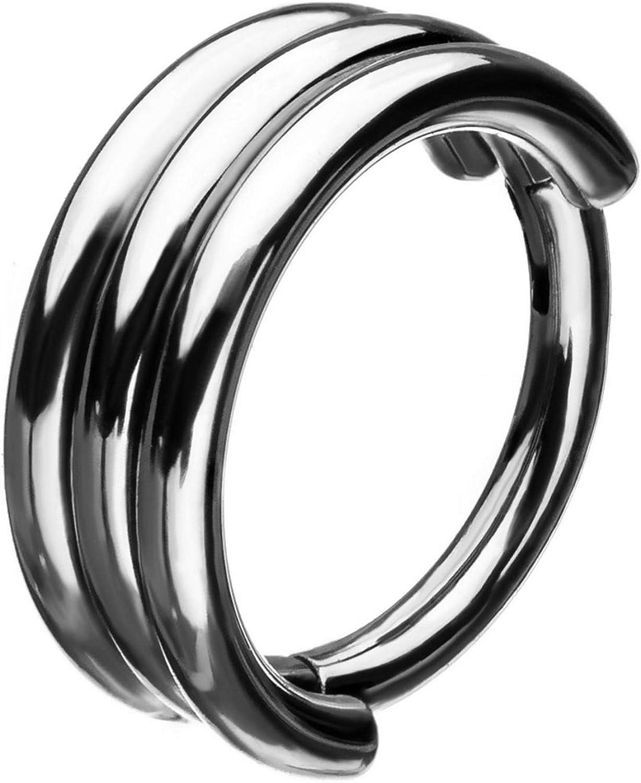 BYB Jewelry Triple Stack Steel Hinged Segment Ring Hoop Piercing 18G-16G