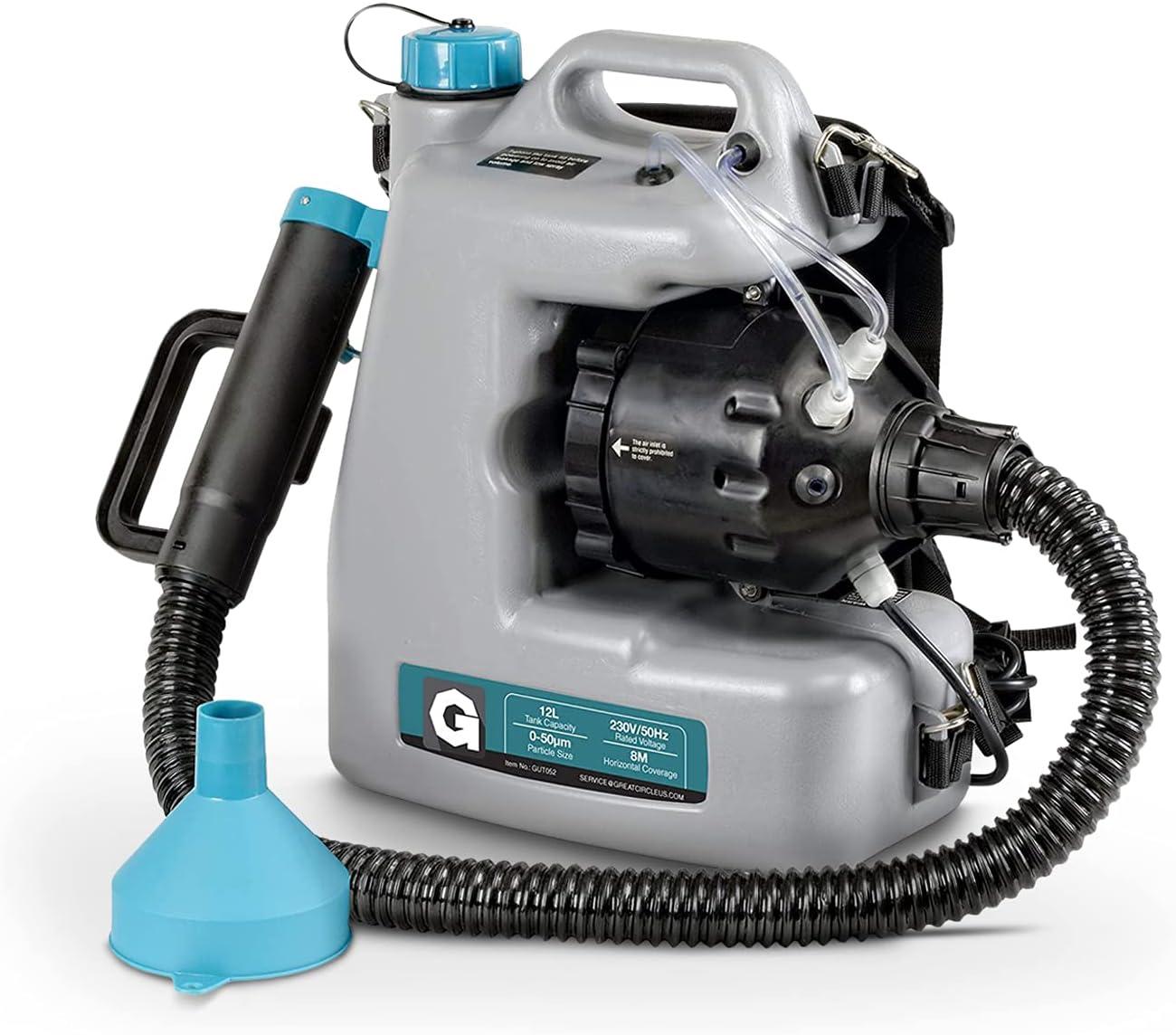 G Máquina nebulizadora Desinfectante Mochila con cable Mist Duster 12L 1-15GPH Pulverizador de nebulización Tamaño de partícula ajustable 0-50um / Mm con manguera extendida y boquilla de pulverización