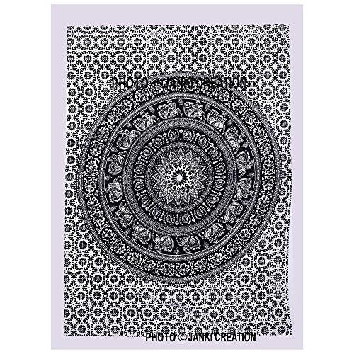 Janki Creation Kleiner, schwarz-weißer Wandteppich aus Baumwolle, 40 x 30, Mandala, Boho, Hippie, indisches Design, Mandala-Poster